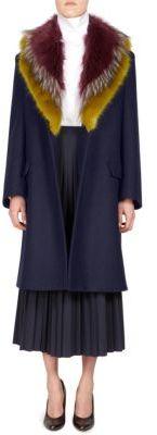 Dries Van Noten Faux Fur Wool Coat