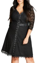 City Chic Plus Size Women's Gigi Luxe Faux Leather Trim Lace Dress