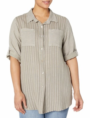 M Made in Italy Women's Plus Size Button Down Tunic Shirt