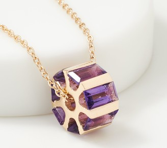 Gemstone Gold Plated Sterling Silver Baguette Spin Necklace