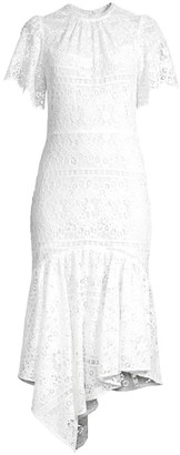 Shoshanna Trinette Lace Flounce Midi Dress