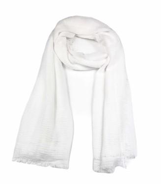 Westend Choice Ladies Scarves Women Crinkle Large Plain Scarf Shawl Head Scarf Stole Neck Wrap (White)