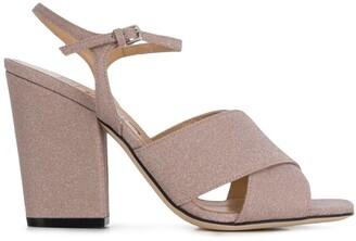 Sergio Rossi Glittered Crossover Straps Sandals