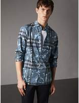 Burberry Beasts Print And Check Stretch Cotton Blend Shirt , Size: Xl, Blue