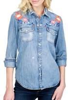 Lucky Brand Embroidered Cotton Denim Shirt