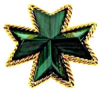 Tiffany & Co. 18K Yellow Gold Italy Malachite Maltese Cross Brooch