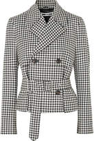 McQ Belted Gingham Wool-twill Jacket - Black