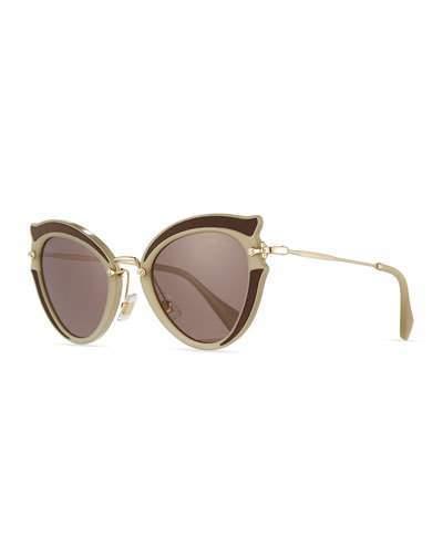 Miu Miu Noir Gradient Cat-Eye Silk Satin Sunglasses, Brown/Purple