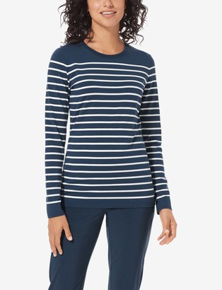 Tommy John Women's Second Skin Long Sleeve Tee, Stripe