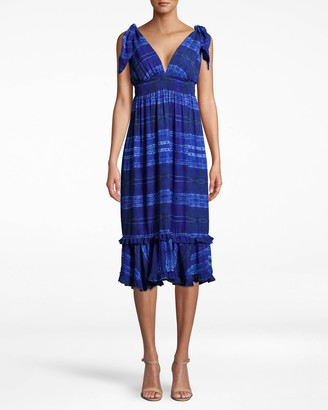 Nicole Miller Shibori Stripe Dress With Tie Shoulder