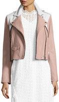 IRO Annik Colorblock Leather Moto Jacket, Pink