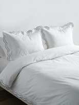 Melange Home Cotton Percale Double Scallop Embroidered Duvet Set