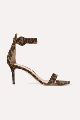Gianvito Rossi Portofino 70 Leopard-print Suede Sandals - Leopard print