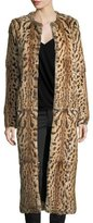 Haute Hippie Leopard-Print Rabbit Fur Long Coat