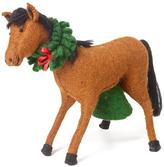 Handmade Horse with Wreath Christmas Tree Topper