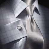 Langsett Sky Fine Check Black Label Tailored Dress Shirt