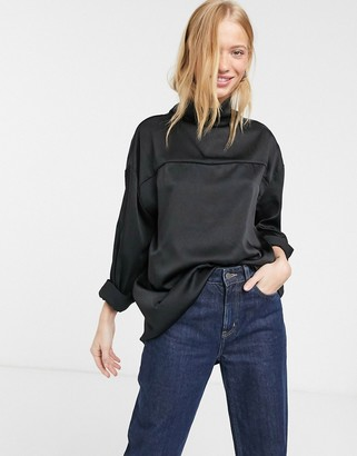 Weekday Moira satin high neck blouse in black