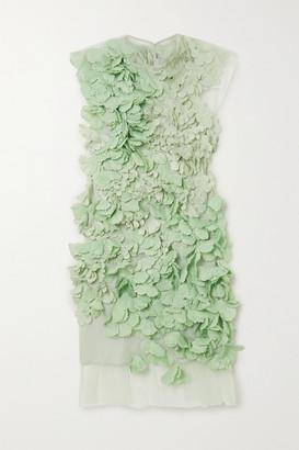 Stella McCartney Appliqued Tulle Mini Dress - Green