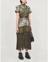Sacai Floral-print belted crepe and cotton-blend midi dress