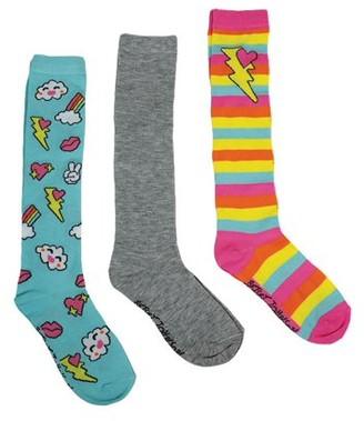 Betsey Johnson Girls Socks, 3 Pack Hearts Knee High Socks Sizes 6/8 - 9/11