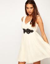 Asos Deep V Neck Skater Dress With Embellished Lace Trim