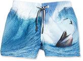 Molo Niko Surfer-Meets-Whale Swim Trunks, Blue Pattern, Size 18 Months-14
