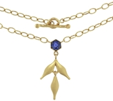 Cathy Waterman Blue Sapphire Bezel Flex Wheat Charm Necklace
