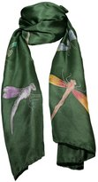 Invisible World Hand-Painted 100% Silk Scarf - Dragonflies on