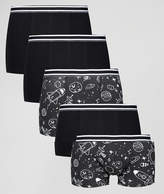 Asos Trunks With Monochrome Space Print 5 Pack Save