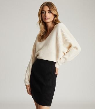 Reiss SIMONE COLOUR BLOCK KNITTED DRESS White/Black