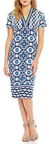 Maggy London V-Neck Mosaic Printed Scuba Midi Sheath Dress