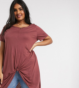Vero Moda Curve longline t-shirt with knot detail in rose