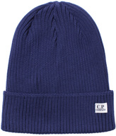 Cp Company Blue Ribbed Knit Beanie