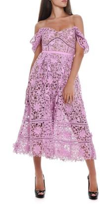 Self-Portrait Off Shoulder Floral Lace Dress