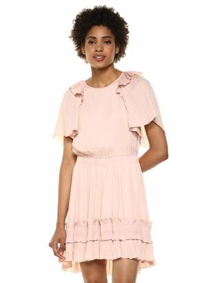 Halston Women's Short-Sleeve Dress with Smocked Ruffle Hem