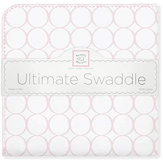 Swaddle Designs Ultimate Winter Swaddle, X-Large Receiving Blanket, Made in USA, Premium Cotton Flannel, Mod Circles, Pastel Pink (Mom's Choice Award Winner)