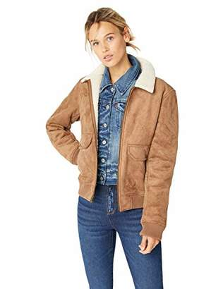 Levi's Women's Faux Leather Sherpa Aviator Bomber Jacket