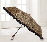 Adrienne Landau Animal-Print Compact Umbrella with Ruffles