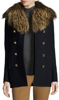 Theory Overby Belmore Fox-Collar Double-Breasted Coat