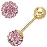 Swarovski 14k Gold Light Rose Crystal Ball Stud Earrings - Made with Crystals - Kids