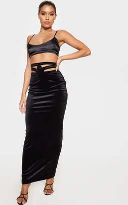 PrettyLittleThing Black Velvet Cut Out Waistband Detail Maxi Skirt