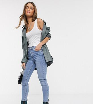 Topshop Petite pocket mom jeans in bleach wash
