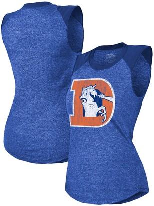 Majestic Women's Threads Royal Denver Broncos Retro Tri-Blend Raglan Muscle Tank Top