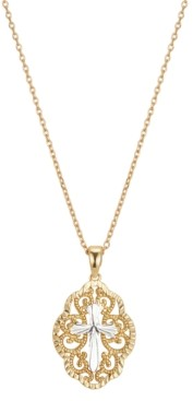 Unwritten Gratitude & Grace Filigree Cross Pendant Necklace in Fine Silver-Plate & Gold-Flash