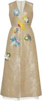 DELPOZO Sleeveless V Neck Raffia Embroidered Dress