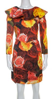 Moschino Red Floral Printed Taffeta Ruffle Detail Short Dress L