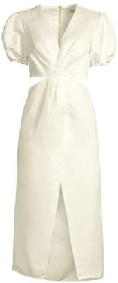 AMUR Billy Cut-Out Waist Midi Dress
