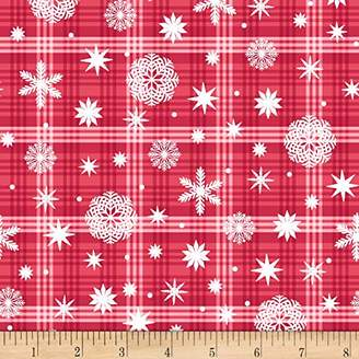 Nordic Forest Snowflake On Plaid Fabric