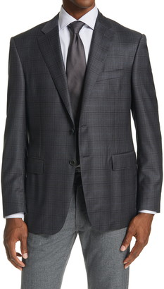 Canali Sienna Classic Fit Glen Plaid Wool Blend Sport Coat