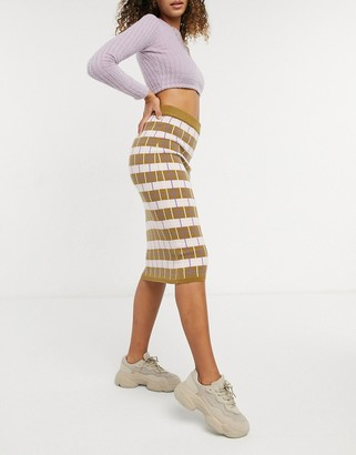 Y.A.S knitted bodycon skirt co-ord in khaki and purple check